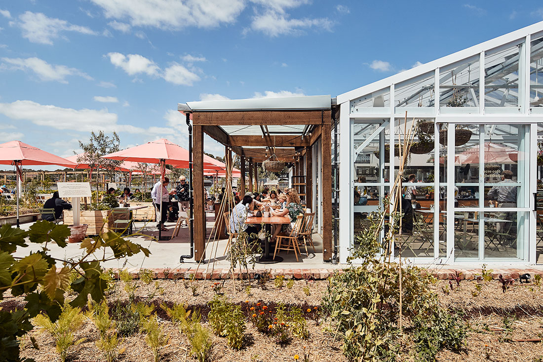 The roof area of Burwood Brickworks is utilised as an urban farm and eatery that helps to connect people to the environment and their food, photo: Peter Bennetts.