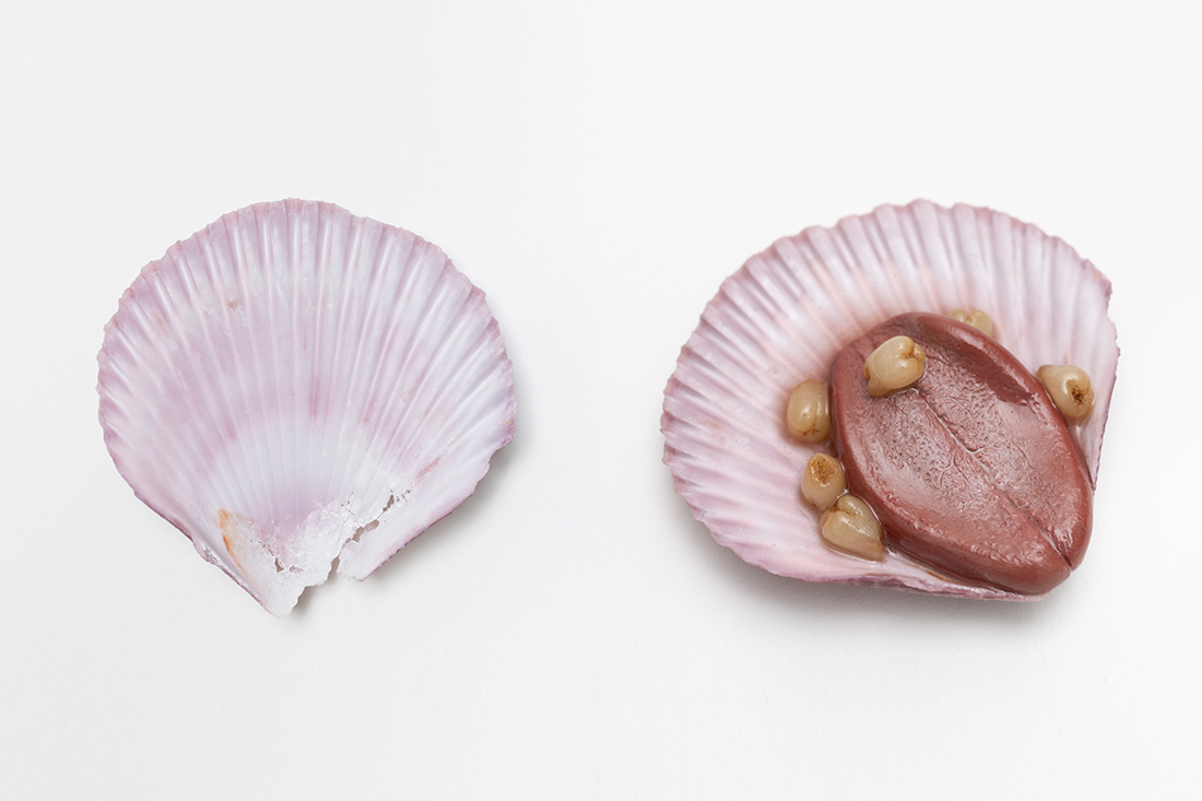 "Sculptor QimmyShimmy lends her ""creepy-cute"" aesthetic to a cracked sea shell and represents the coming of age with milk teeth."