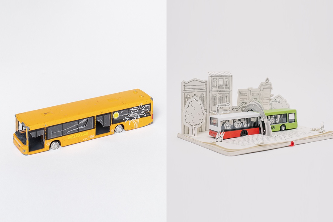 Technology-driven design studio Mightyjaxx captures nostalgia and incorporates an old toy bus into a time-travelling journal, showcased in the R for Repair exhibition at Singapore National Design Centre