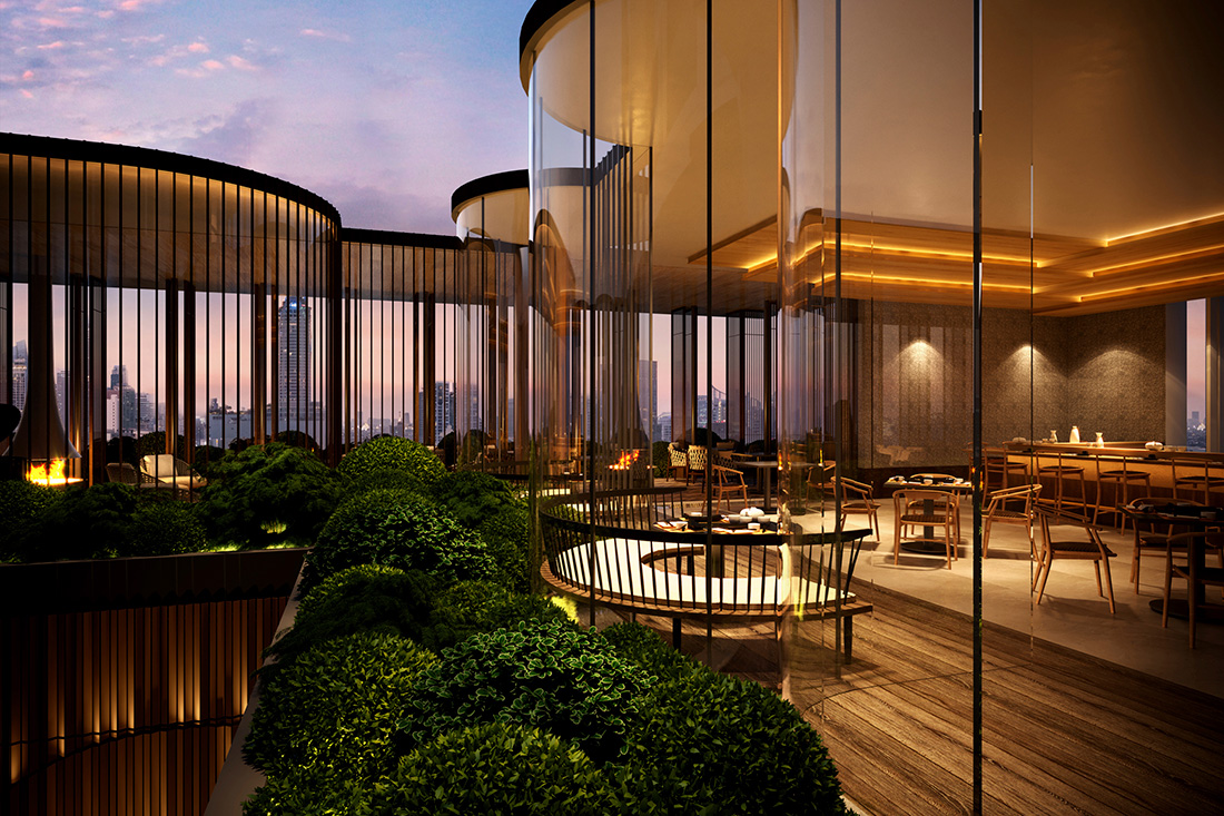 A Japanese restaurant on the 19th floor is one of the dining options at Aman Nai Lert Bangkok